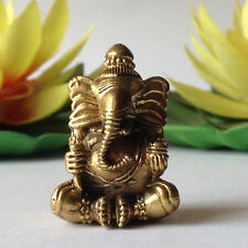 LORD GANESHA GANESH BRASS STATUE GOD HINDU ANTIQUE GET LUCK LIFE PROTECTION