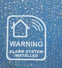2 x WARNING ALARM SYSTEM INSTALLED  VINYL STICKER/ WINDOW WARNING SECURITY SIGNS