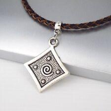 Alliage D'argent carré spirale pois Gothique Pendentif Tressé en Cuir Marron Collier