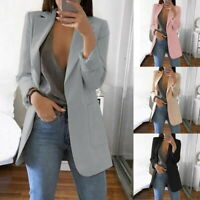 1-Women Lady Long Sleeve Slim Blazer Suit Coat Work Jacket Formal Suit Plus Size
