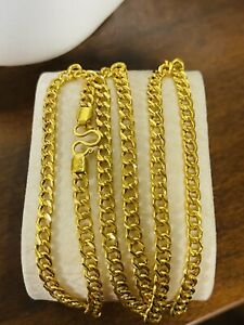"""22K Yellow Real Saudi Gold 916 Unisex Cuban Chain Necklace 22"""" Long 12.4g 4.5mm"""