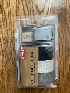 Levi's Men's Cut To Fit 3 Pack Web Belt With, Black/Olive/Khaki, One Size New OB