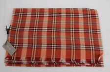 NWT Authentic Tom Ford Scarf Orange & Brown Plaid Cotton Cashmere #1713