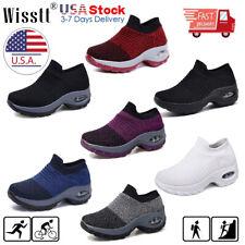Womens Ladies Slip On Walking Running Sports Comfy Sock Sneakers Mesh Shoes NEWS