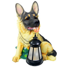 2 Outdoor Garden Solar German Shepherd Dog LED Lantern Light Post Landscape Lamp