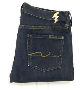 EUC 7 for All Mankind Gold Trim Slim Leg Women's Dark Blue Jeans W26 x L33