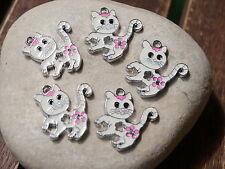 5 Metallanhänger weiße Katze Charm Emaille Bettelanhänger