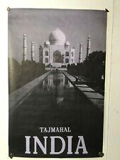 Taj Mahal India Travel Poster 36 x 24 Rare Original Vintage 1958 Black and White