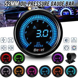 12V 2'' 52mm Car Oil Press Gauge Meter Digital LED Display W/ Sensor 0-1