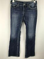 Silver Jeans Womens sz 32 Aiko Boot Cut Medium Wash Distressed Denim Blue Jeans