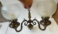 Applique Vintage double En Bois Et Laiton Verre globe Rond Décoré Design ancien