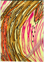 Tree Trunk - Original Abstract Tree Flower Watercolor Painting - Art By AJM