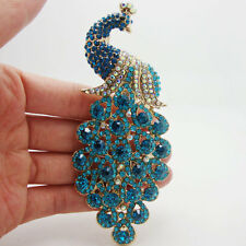 Vintage Peacock Bird Blue Rhinestone Crystal Bird Gold-plated Brooch Pin