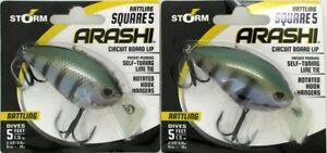 (2) Storm Arashi Rattling Square 5 Circuit Board Lip Crankbaits Bluegill New