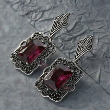 Fashion Women Boho Red Square Drop Dangle Vintage Crystal Earrings Jewelry