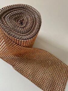 "4.75"" 10 yds Rose Gold sparkle Diamond Mesh Wrap Roll Rhinestone Crystal Ribbon"