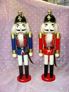 """MILITARY SOLDIERS, Lot of 2, 14 1/2"" WOODEN NUTCRACKERS"", Hats & Swords"