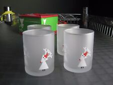 Crate & Barrel Snow Deer Frosted Glass Tealight Candle Holders 4