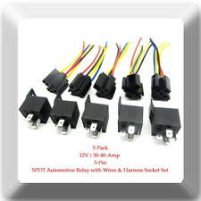 5 Kits 12V 30-40 Amp 5 Pin SPDT Automotive Relay with Wires & Harness Socket Set