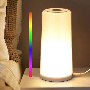 Table Lamp - Touch Sensor Bedside Lamp, Dimmable Warm White Touch Lamp RGB Color