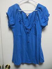 Old Navy Light Royal Blue Short Sleeve Tunic Style Top w/Elastic Neckline, sz L