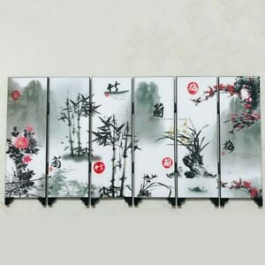 Office Screen Room 6-Panel Bamboo Business Divider Flower Gift Hot Sale