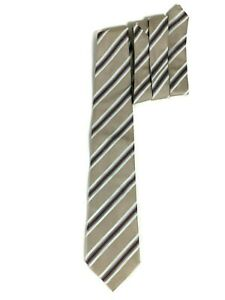 Banana Republic Tan Blue Brown Striped Silk Necktie