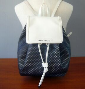 A|X  ARMANI EXCHANGE MESH PERFORATED BACKPACK 942090-8P228 EC NAVY WHITE