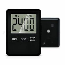 Slim Magnetic LCD Digital Kitchen Timer Count Up Down Cooking Alarm Black