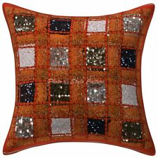 Bohemian Decorative Sofa Cushion Cover 16 x 16 Boho Sequins Patchwork Pillowcase