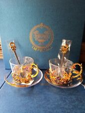 Imperial Crown Glass Tea Cup And Saucer Set With Tea Spoon