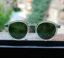 Retro Vintage Johnny Depp sunglasses round crystal frame green glass lens unisex