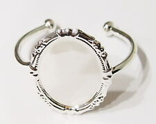 40x30 mm Silver Victorian Decorative Cuff Bracelet Setting 4 Cameos Cabs Glass