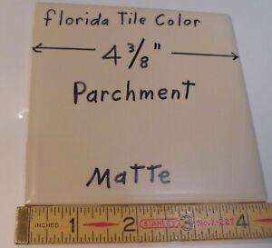 """1 pc. *Parchment - Lite Tan* Matte Ceramic Tile 4-3/8""""  florida tile color   NOS"""