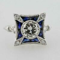 Vintage Art Deco Antique Engagement Ring 2.5 Ct Diamond & Sapphire 14k Gold Over