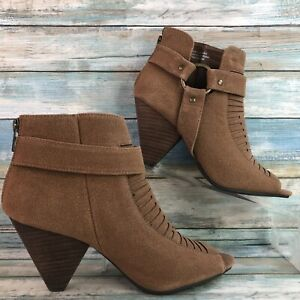 Cato Womens Brown Open Toe Ankle Boots Zip Up High Stacked Block Heel Size 8M