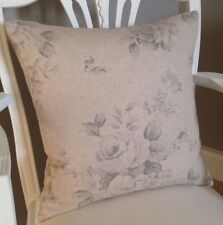 Faded Grey Roses on Beige Vintage Linen Look Fabric Cushion Cover