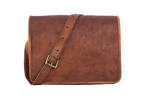 Bag Leather Goat Laptop Messenger Vintage Brown Briefcase Genuine Real Satchel