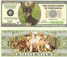 Chihuahua Dog One Million Dollar Bills x 2 New Gift