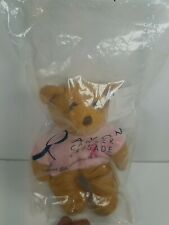 "2001 Avon Plush Bear Breast Cancer Crusade Stuffed Animal Small 6"" New In Pkg."