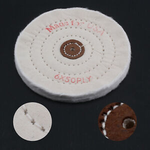 """Spiral Stitched Cotton Buffing Polishing Wheel For 150mm 6"""" Bench Grinder HA4"""