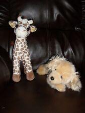 Lot of 2 Little Brownie Giraffe and Golden Retriever Plush