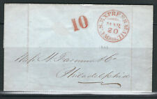 US Stampless Cover Folded Letter US Express Boston to Philadelphia ex R. Weil