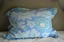 Pottery Barn Aqua Blue Palampore Floral Pillow Sham Linen Cotton Tailored Flange