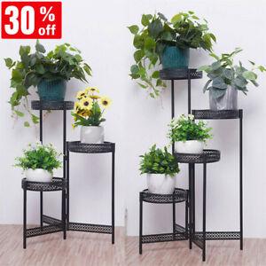 3/4 Tiers Plant Stand Garden Planter Metal Flower Pot Rack Corner Shelves Decor