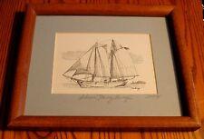 SCHOONER HARVEY GAMAGE Framed Pen and Ink portrait- Hand Signed by Artist!