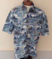 Kahala John Severson Mens XL Hawaiian Shirt Blue Abstract Island Print Lawn Cott