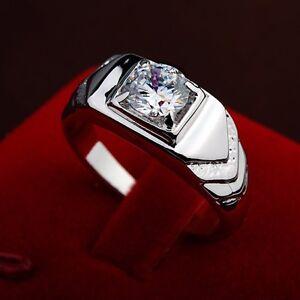 Männer Herren Ring Silber Weißgold 18K Kristall Geschenk Weihnachtsgeschenk