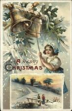 Christmas - Little Girl Ringing Bells Unsigned Clapsaddle? c1910 Postcard rpx