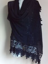 SEQUIN SCARF NAVY SHAWL LACE GIFT SHAWL NIGHT PARTY CAPE  PASHMINA XCMAS STOLE